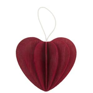 Lovi houten wens-/briefkaart met 3D hart 4,5 cm - donkerrood