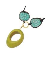 Malva- verstelbare ketting van tagua - turkoois/groen
