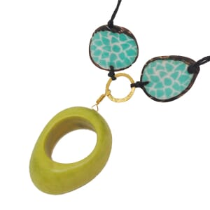 Malva adjustable tagua necklace - turquoise/green