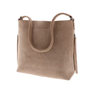 Phoebe – stylish suede handbag with slight A-line - soft brown
