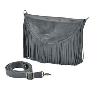 Conga - ecoleren schoudertasje / clutch met franjes - grijsblauw