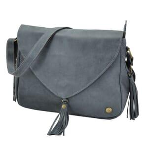 Bolero - ecoleren schoudertas met tassels - grijsblauw
