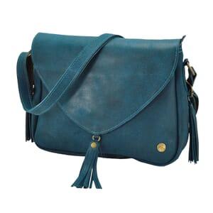 Bolero - ecoleren schoudertas met tassels - petrolblauw