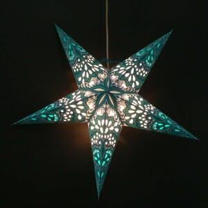 Papieren kerstster Amisha - blauw/turkoois - incl. verlichtingsset