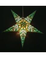 Papieren kerstster Amisha - groen/geel - incl. verlichtingsset