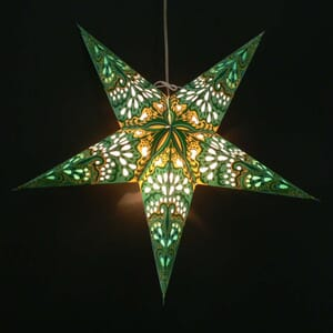 Paper star for X-mas - Amisha green/yellow - incl. lighting set