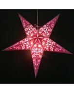 Papieren kerstster Amisha - roze - incl. verlichtingsset
