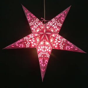 Paper star for X-mas Amisha - pink - incl. lighting set