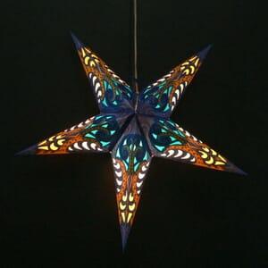Papieren kerstster Deepali - blauw - incl. verlichtingsset