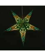 Papieren kerstster Deepali - groen - incl. verlichtingsset
