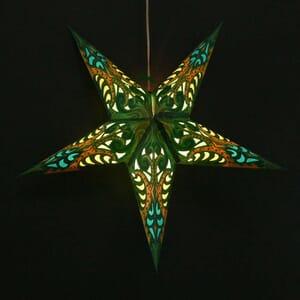 Paper star for X-mas Deepali - green - incl. lighting set