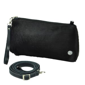 Samba - schoudertasje / clutch van koeienhuid ecoleer - blauwantraciet zwart