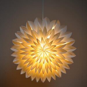 Zinnia - decorative white paper lampshade