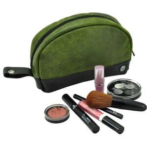 Pousada - make-up tas van binnenband & ecoleer - groen