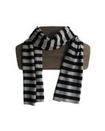Ola – superzachte unisex sjaal van merino- en yakwol - beige zwart gestreept