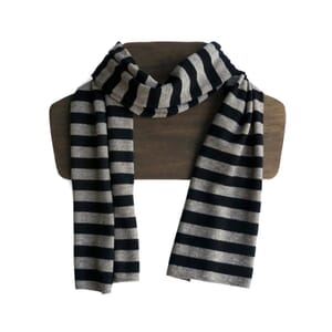 Ola – super soft unisex scarf of yak wool and merino - beige black stripes