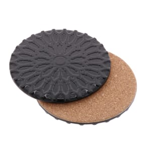 Sintra – luxury design coaster of ceramic and cork - black