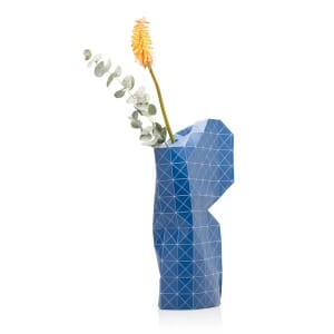 Paper vase cover - Dutch designvaas - blue grid