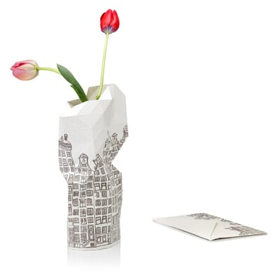 Paper Vase Cover Canal Houses Dutch Design Foldable Vase By Pepe