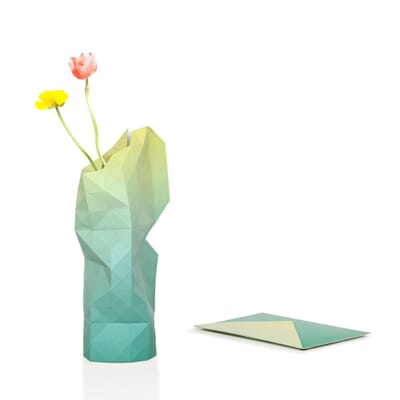 Paper Vase Cover Green Yellow Fade Dutch Design Foldable Vase By