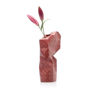Paper vase cover - Dutch designvaas - red grid