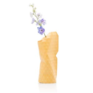 Paper Vase Cover klein Dutch Design - gele ruit