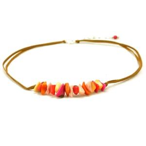 Piedras - verstelbare ketting van tagua - sunset