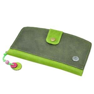 Pisto - dames portefeuille van ecoleer - legergroen-groen