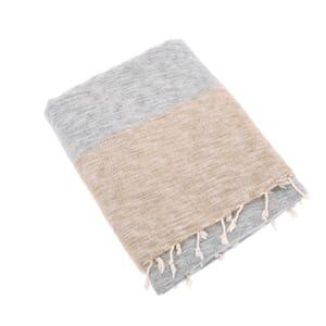 Indra - plaid, throw or blanket from yak wool - cream grey brown stripe