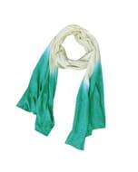Purna - zachte sjaal van fijne wol met dip-dye - zeegroen-crème