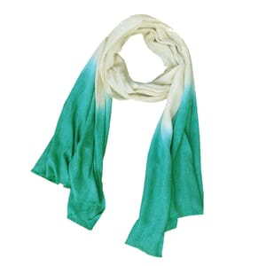 Purna - soft scarf  of finely woven wool with dip-dye - sea green-cream