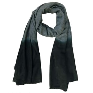 Purna - soft scarf  of finely woven wool with dip-dye - black grey