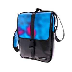 "Torba – Sleek shoulder bag from recycled billboards with 10"" tablet compartment"