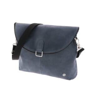 Paso Doble - schoudertas en rugtas van ecoleer - grijsblauw