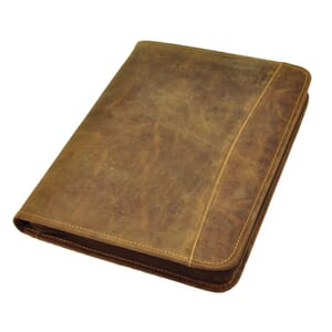 Knox - luxury A4 writing folder of brown vintage leather