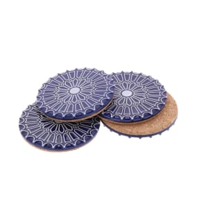 Batalha - set 4 luxurious coasters of ceramic and cork – dark blue