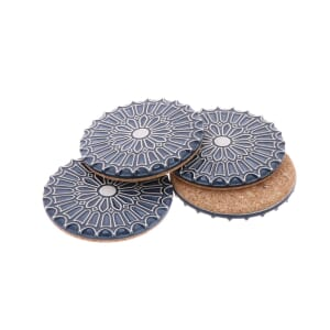 Batalha - set 4 luxurious coasters of ceramic and cork – steel blue