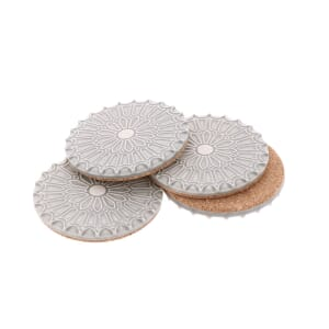 Batalha - set 4 luxurious coasters of ceramic and cork – light grey