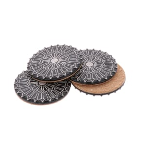 Batalha - set 4 luxurious coasters of ceramic and cork - black