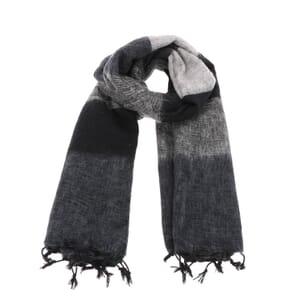 Pina - brede 'yakwol' sjaal of omslagdoek - zwart/grijs gestreept