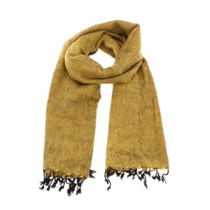 Pina - brede 'yakwol' sjaal of omslagdoek - oker geel