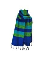 Yaku - 'yakwol' sjaal - blauw / groen gestreept