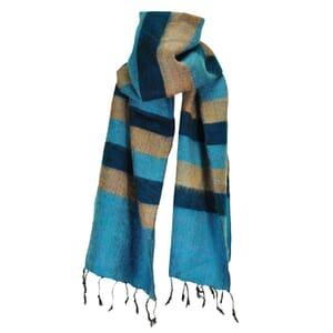 Yaku - 'yakwol' sjaal - blauw / turkoos / zalm gestreept