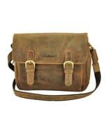 Spokane - vintage bruine eco-leren schoudertas met klep