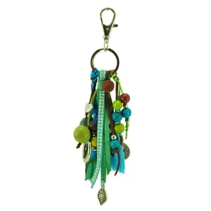 Feliz turquesa – key or bag charm in turquoise brown tones