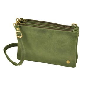 Terna – handy, flexible triplet bag of semi eco leather - army green