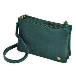 Terna – handy, flexible triplet bag of semi eco leather - petrol blue