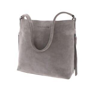 Phoebe – stijlvolle handtas met lichte A-lijn van suède - zachtgrijs