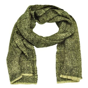 Vida - super soft scarf of yak wool and raw silk with diamond pattern - cream